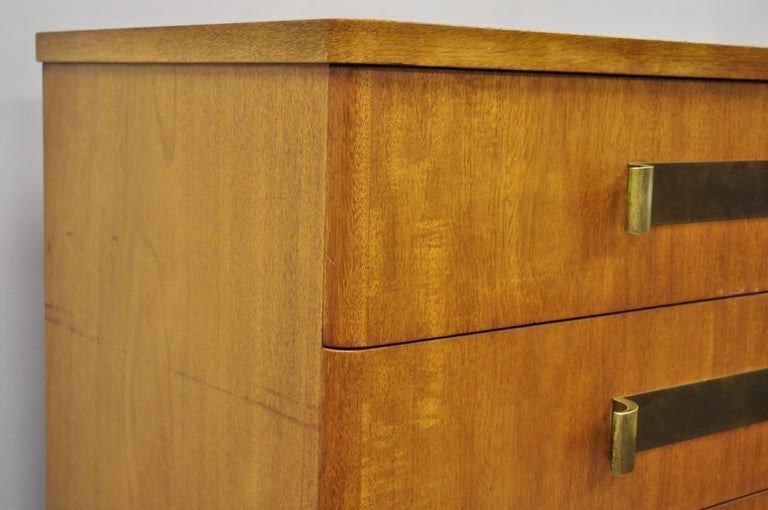 John Stuart Mid-Century Modern Art Deco Birch Chest Dresser Sculpted Bronze Pull For Sale 2