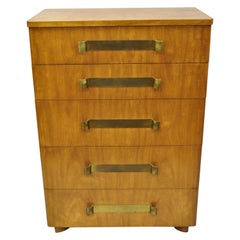 John Stuart Mid-Century Modern Art Deco Birch Chest Dresser Sculpted Bronze Pull