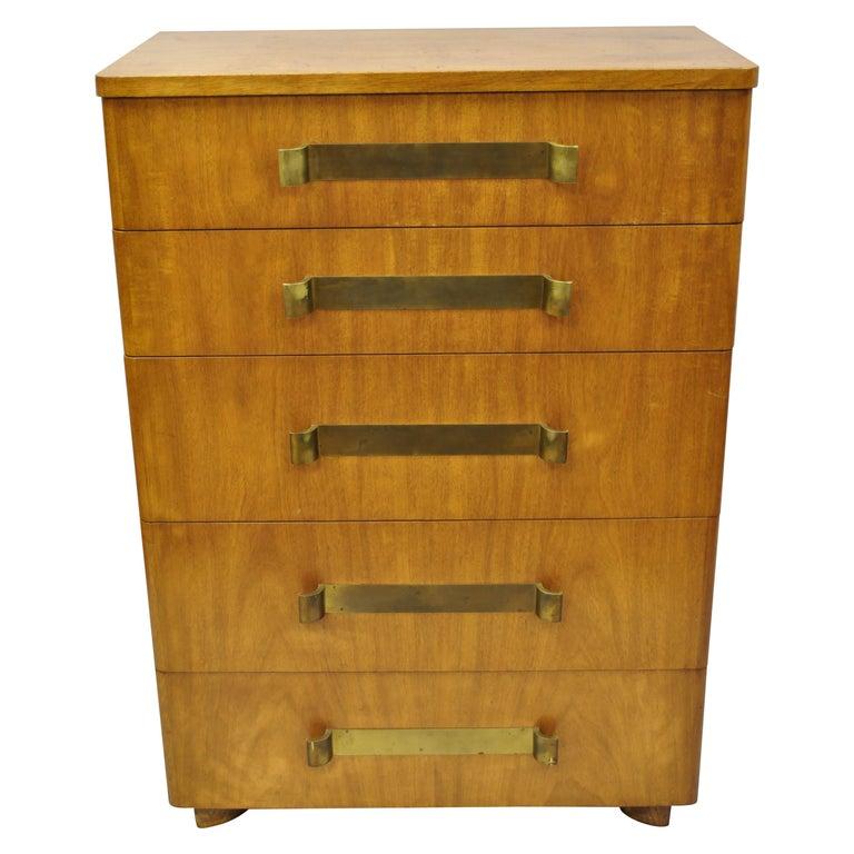 John Stuart Mid-Century Modern Art Deco Birch Chest Dresser Sculpted Bronze Pull For Sale
