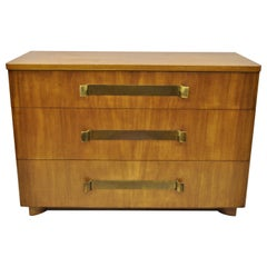 John Stuart Mid-Century Modern Art Deco Birch Dresser with Sculpted Bronze Pulls