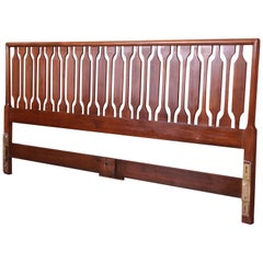 John Stuart Mid-Century Modern Sculpted Walnut King Size Headboard