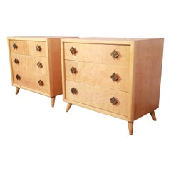 John Stuart Mid-Century Modern Three-Drawer Bachelor Chests or Large Nightstands