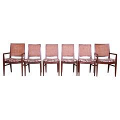John Stuart Mid-Century Modern Walnut and Cane Dining Chairs, Set of Six