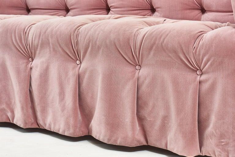 Velvet John Stuart Pink Sofa, 1988 For Sale