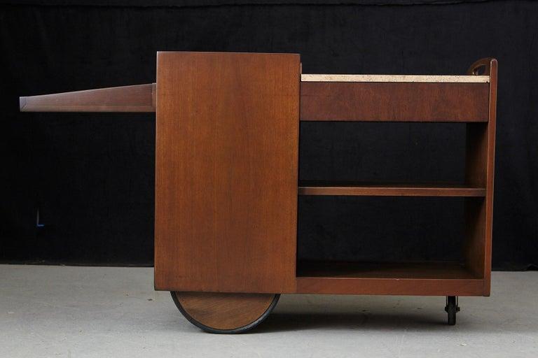 John Stuart Rolling Bar Cart on Big Wheels and Travertine Serving Top For Sale 4