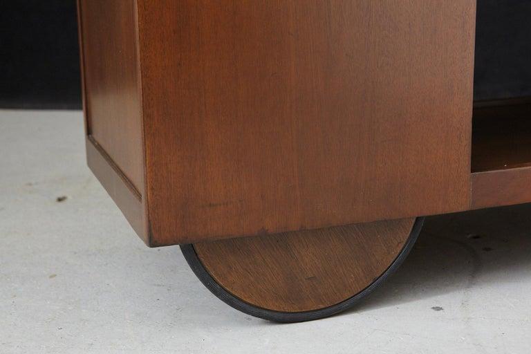 John Stuart Rolling Bar Cart on Big Wheels and Travertine Serving Top For Sale 5