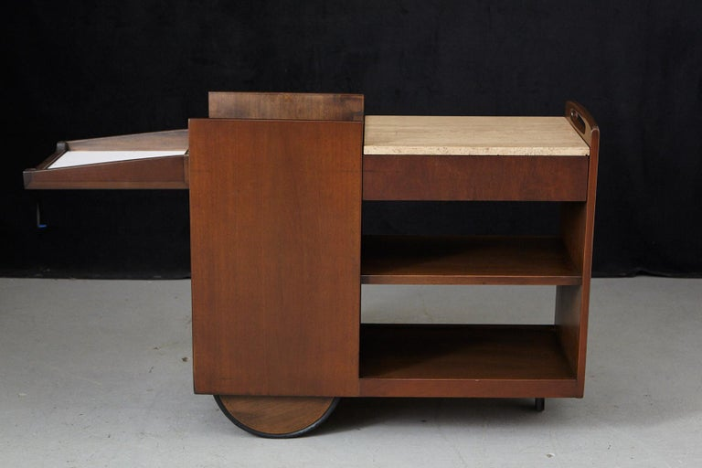 John Stuart Rolling Bar Cart on Big Wheels and Travertine Serving Top In Good Condition For Sale In Pau, FR