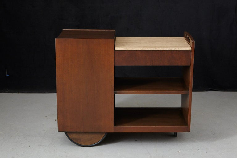 Mid-20th Century John Stuart Rolling Bar Cart on Big Wheels and Travertine Serving Top For Sale