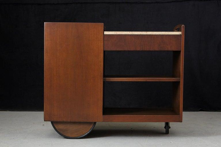 John Stuart Rolling Bar Cart on Big Wheels and Travertine Serving Top For Sale 3