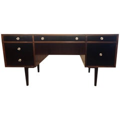 John Stuart Style Ebony and Teak Polished Mid-Century Modern Desk / Vanity