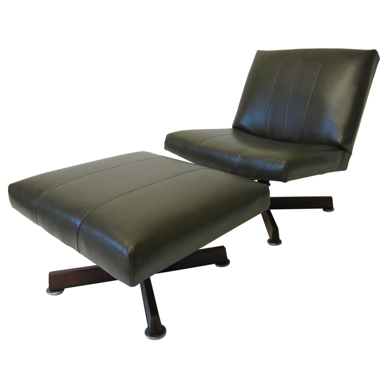 John Stuart Swiveling Leather Lounge Chair with Ottoman
