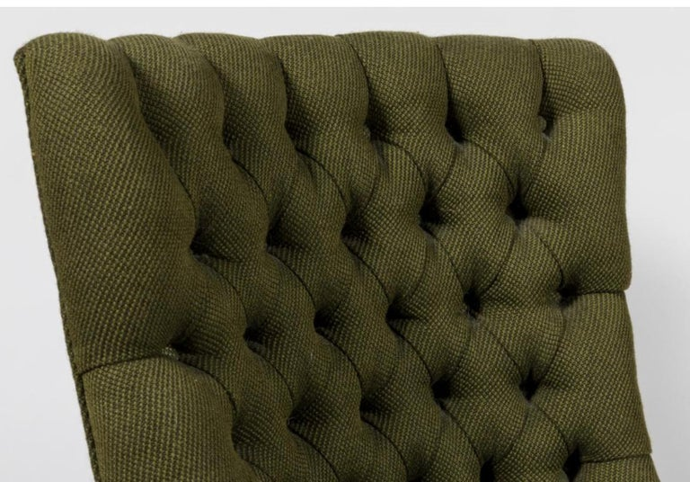 John Stuart tufted high back hunter green high back slipper chair, midcentury. Gorgeous midcentury high back side / accent chair. Tufted. Deep Kalamata fabric is original an!d in good vintage condition. This listing is for one chair. Dimensions: 22