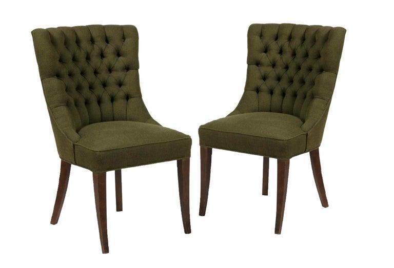 Mid-Century Modern John Stuart Tufted High Back Hunter Green High Back Slipper Chair, Midcentury For Sale