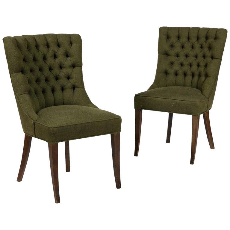 John Stuart Tufted High Back Hunter Green High Back Slipper Chair, Midcentury For Sale