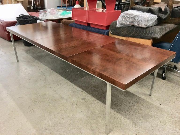Mid-Century Modern John Stuart Walnut Dining Table with Polished Aluminum Legs For Sale