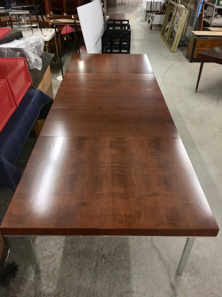 American John Stuart Walnut Dining Table with Polished Aluminum Legs For Sale