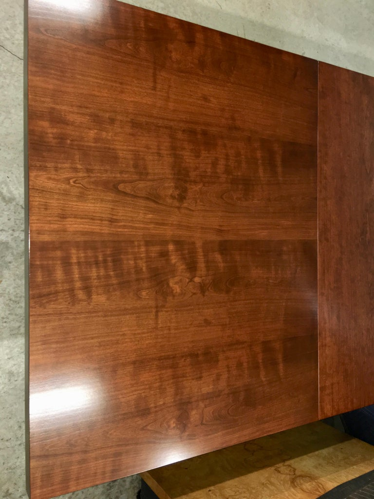 John Stuart Walnut Dining Table with Polished Aluminum Legs In Good Condition For Sale In Hingham, MA
