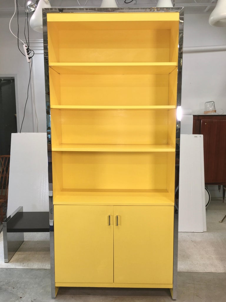 John Stuart Yellow Lacquer and Chrome Bookcase or Dry Bar For Sale 3