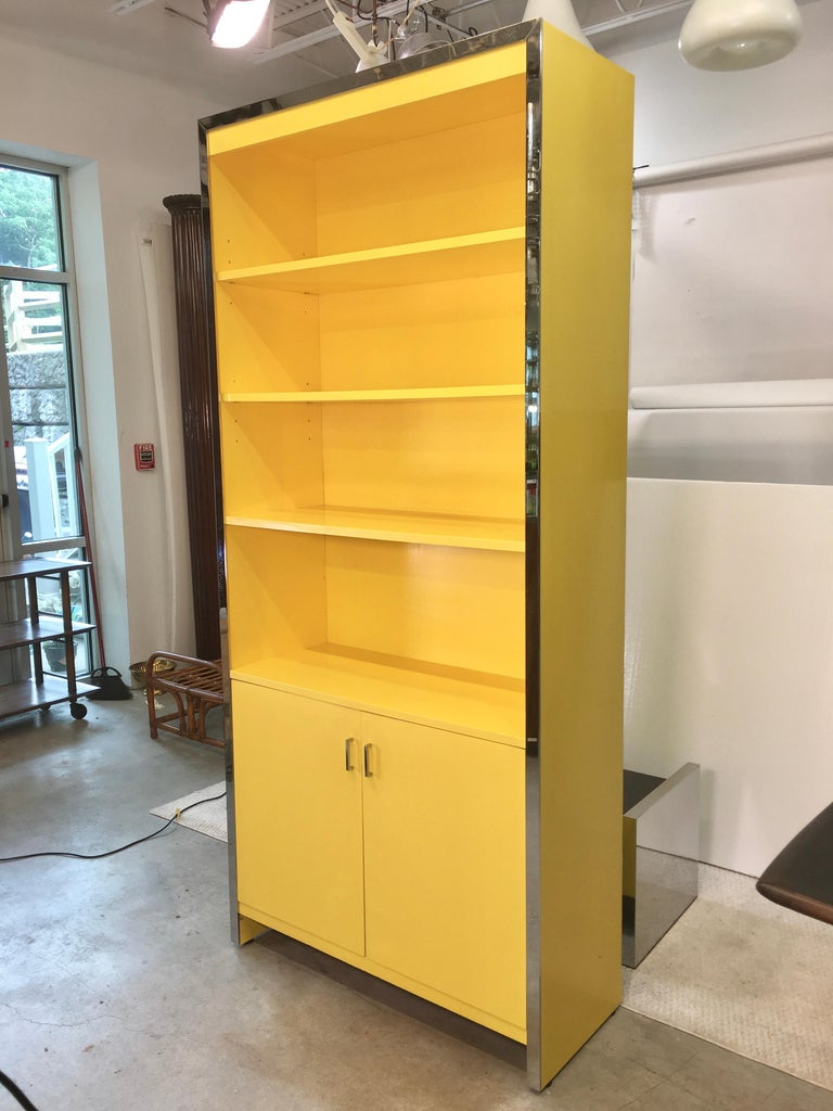John Stuart Yellow Lacquer and Chrome Bookcase or Dry Bar For Sale 4