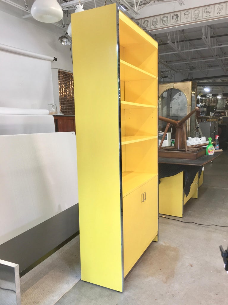 John Stuart Yellow Lacquer and Chrome Bookcase or Dry Bar For Sale 5