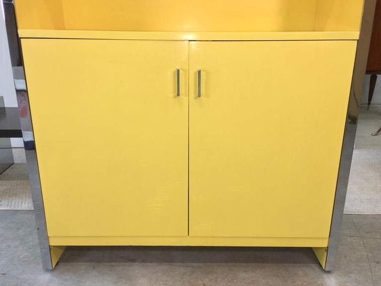 John Stuart Yellow Lacquer and Chrome Bookcase or Dry Bar For Sale 6