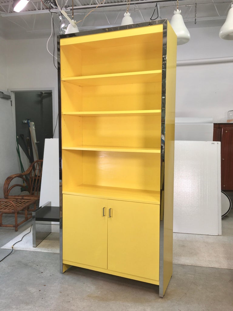 John Stuart Yellow Lacquer and Chrome Bookcase or Dry Bar For Sale 7