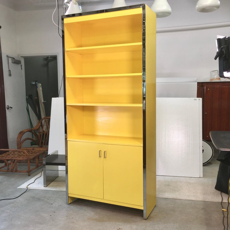John Stuart Yellow Lacquer and Chrome Bookcase or Dry Bar For Sale 8