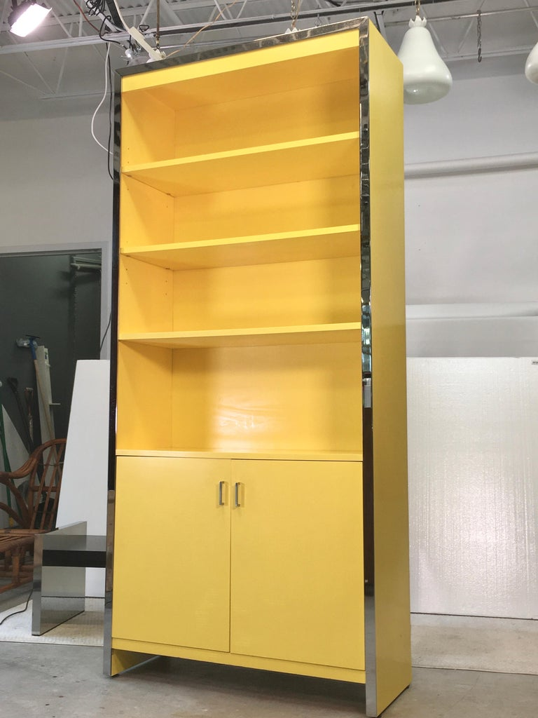 John Stuart Yellow Lacquer and Chrome Bookcase or Dry Bar For Sale 9