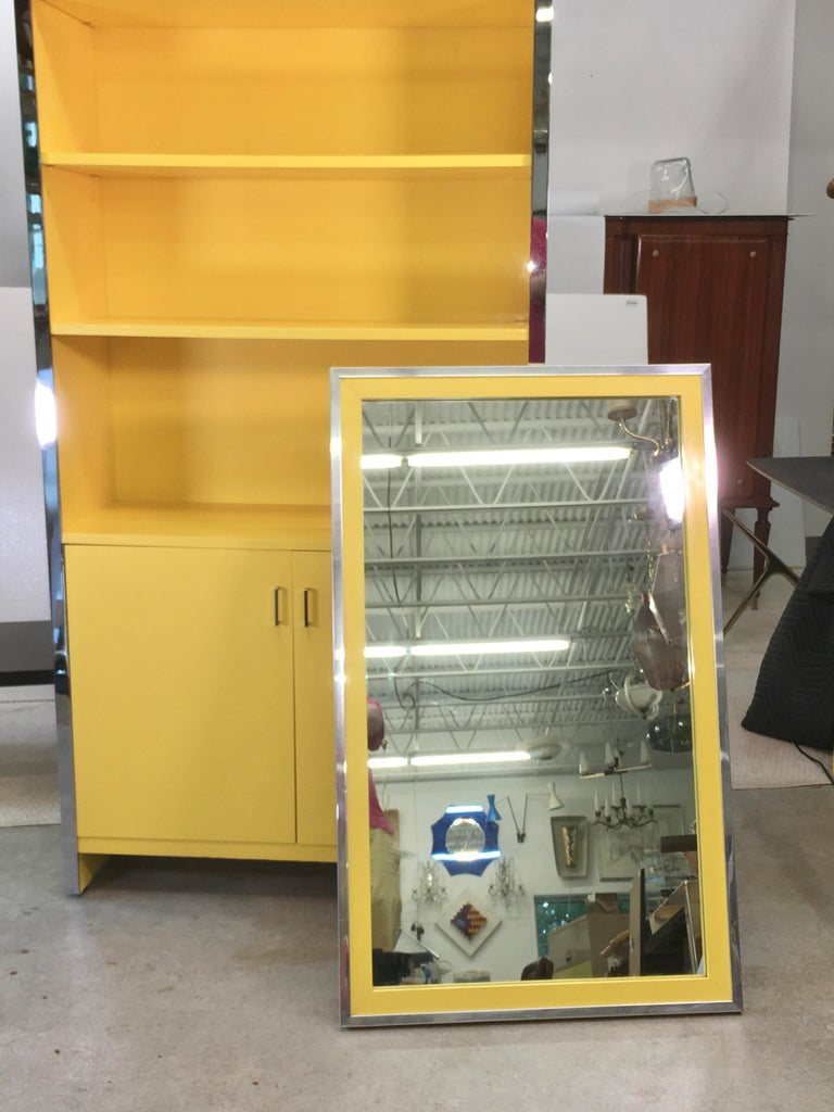 John Stuart Yellow Lacquer and Chrome Bookcase or Dry Bar For Sale 10