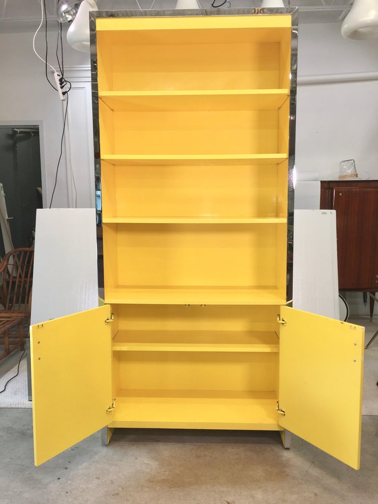 Mid-Century Modern John Stuart Yellow Lacquer and Chrome Bookcase or Dry Bar For Sale