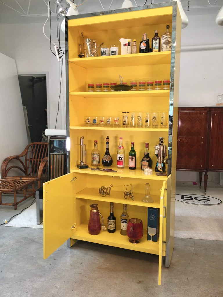 American John Stuart Yellow Lacquer and Chrome Bookcase or Dry Bar For Sale