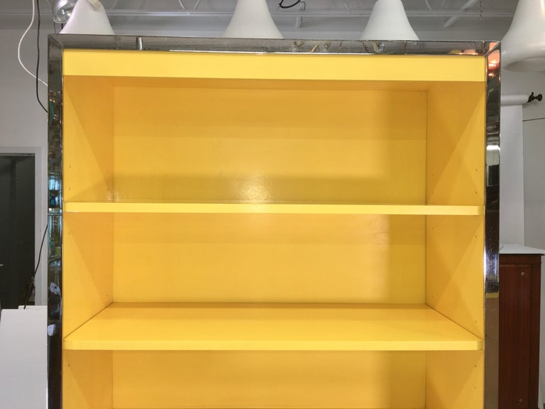 Laminated John Stuart Yellow Lacquer and Chrome Bookcase or Dry Bar For Sale