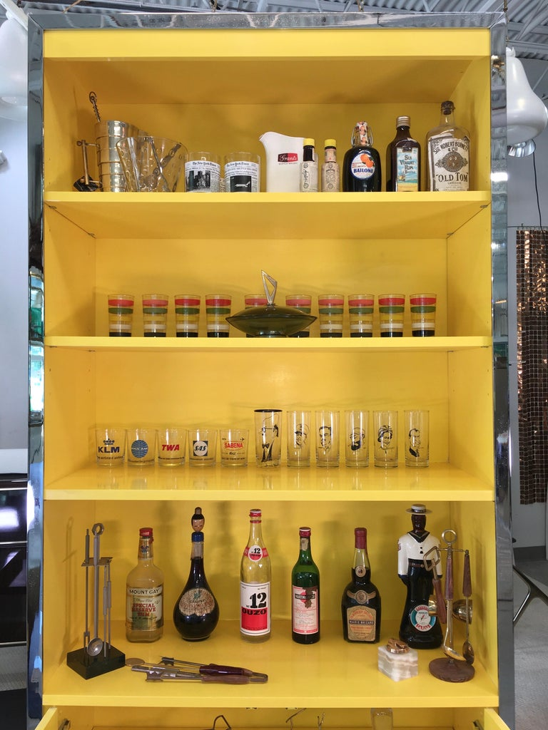 John Stuart Yellow Lacquer and Chrome Bookcase or Dry Bar In Good Condition For Sale In Hingham, MA