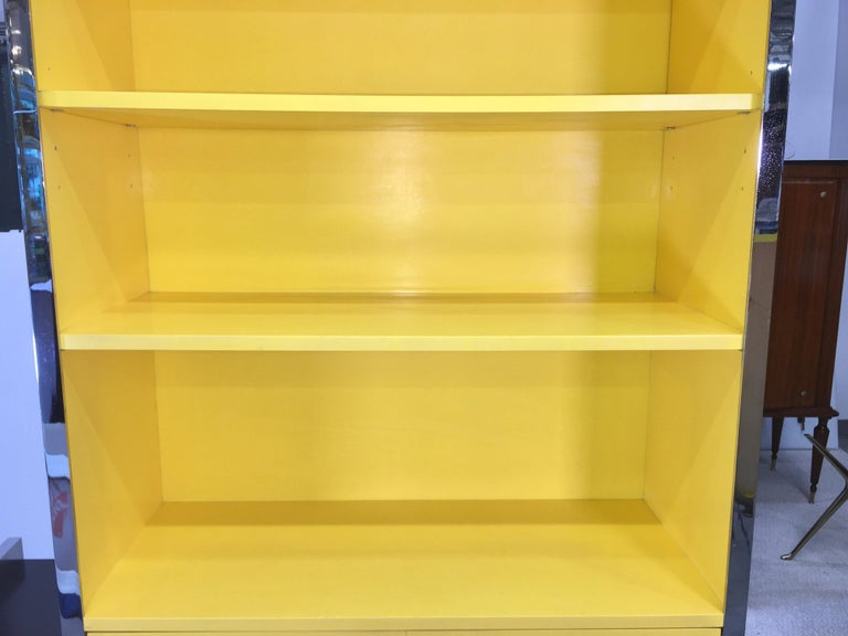 Late 20th Century John Stuart Yellow Lacquer and Chrome Bookcase or Dry Bar For Sale