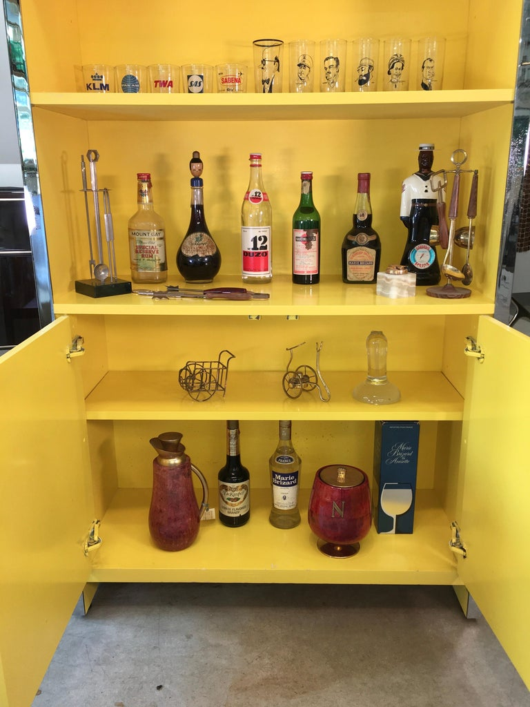 John Stuart Yellow Lacquer and Chrome Bookcase or Dry Bar For Sale 1