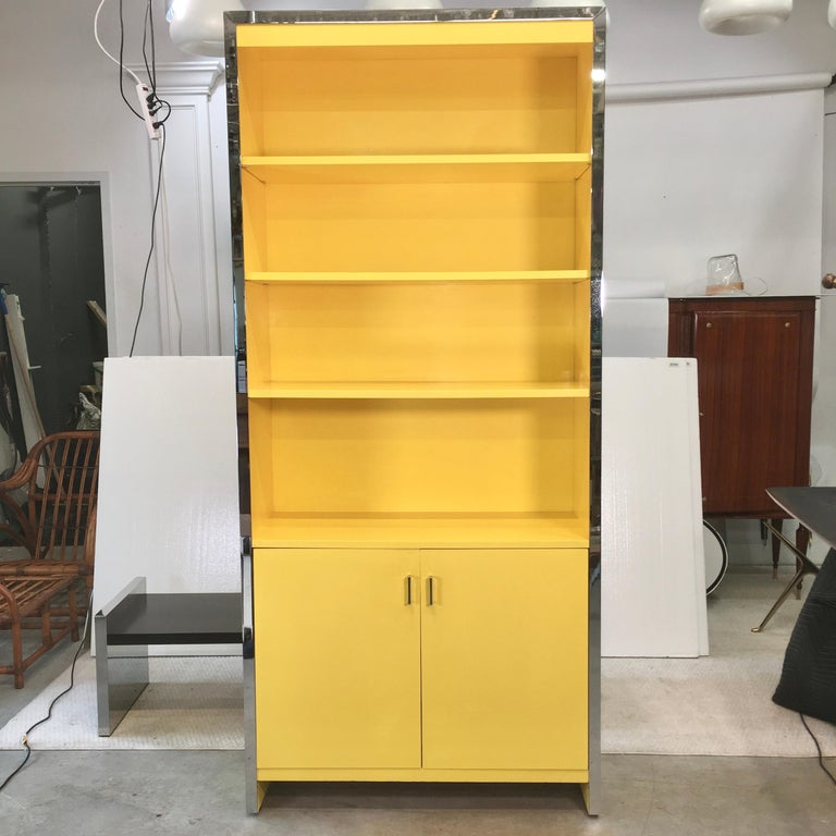 John Stuart Yellow Lacquer and Chrome Bookcase or Dry Bar For Sale 2