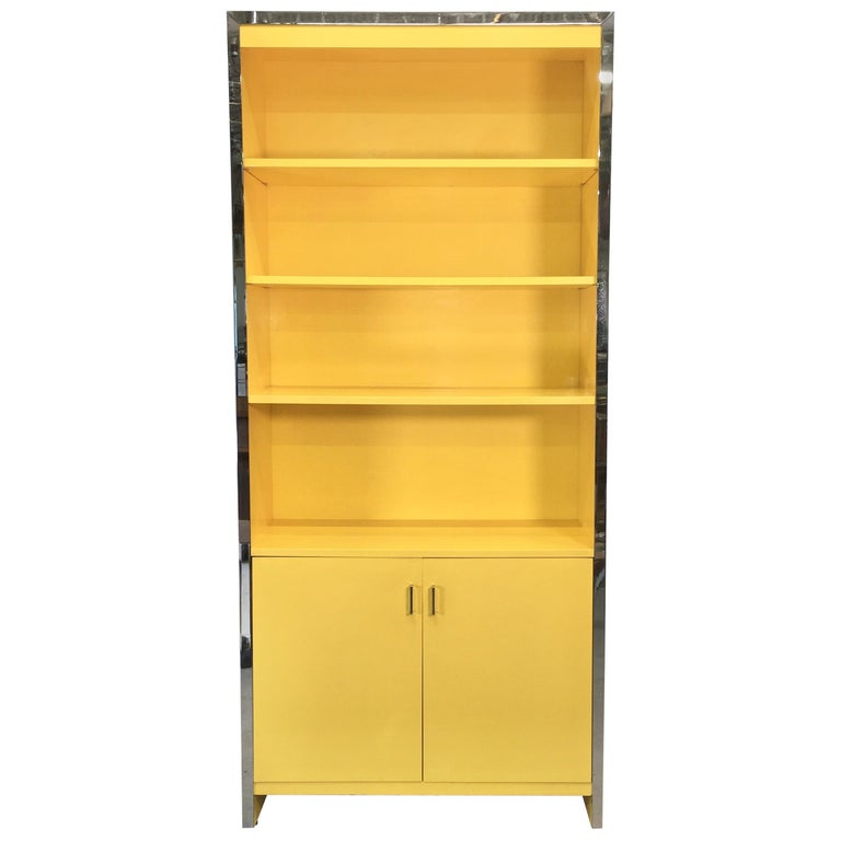 John Stuart Yellow Lacquer and Chrome Bookcase or Dry Bar For Sale