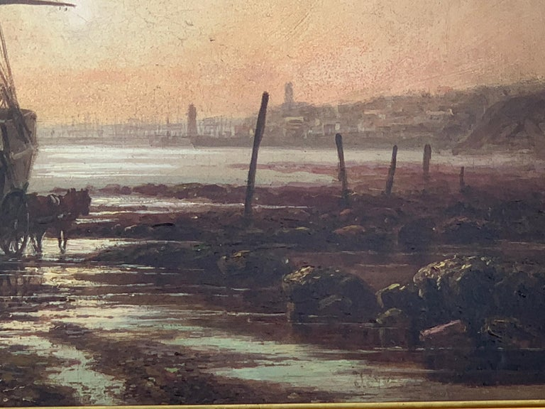 English Victorian 19th century beached fishing boat at sunset, England For Sale 2