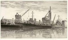 Destroyers in Wet Basin, USS Radford at Federal Shipbuilding and Drydock, NJ