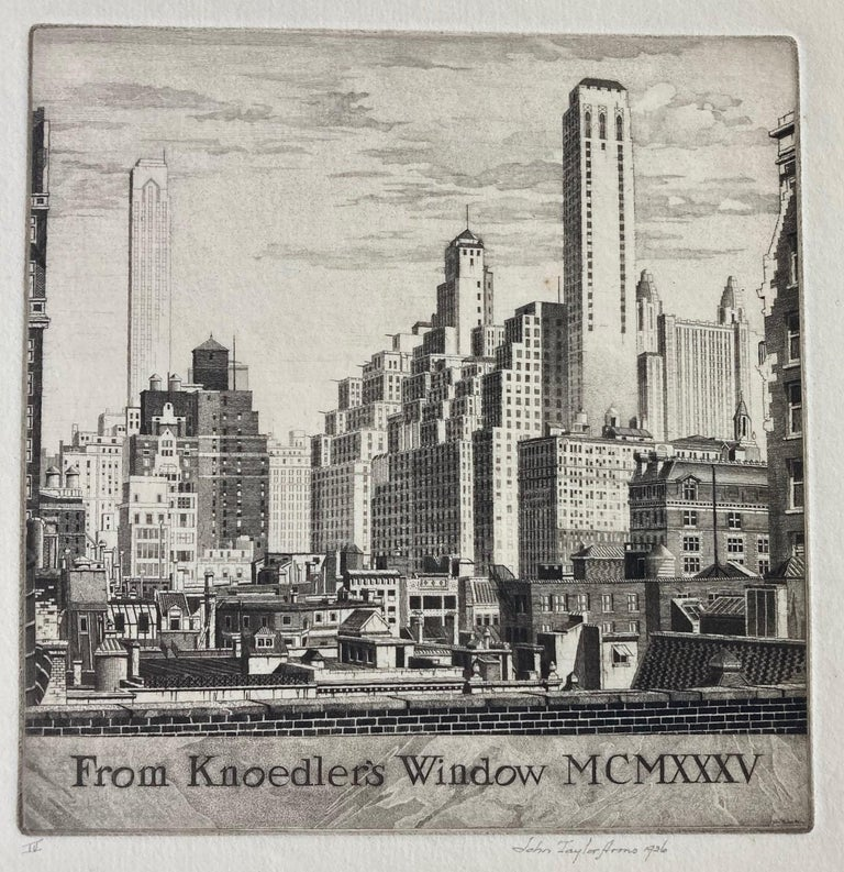 From Knoedler's Window MCMXXXV - American Modern Print by John Taylor Arms