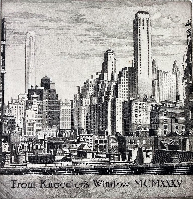 From Knoedler's Window MCMXXXV - Gray Landscape Print by John Taylor Arms