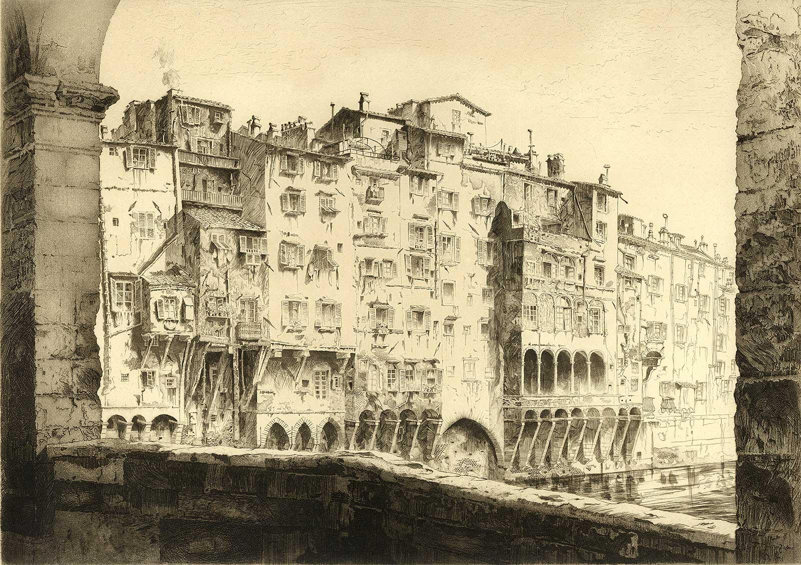 From the Ponte Vecchio, Florence Italy by American master John Taylor Arms