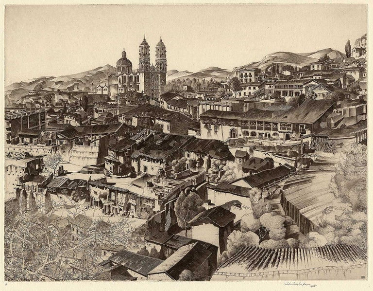 Light and Shade, Taxco Mexico - Brown Portrait Print by John Taylor Arms
