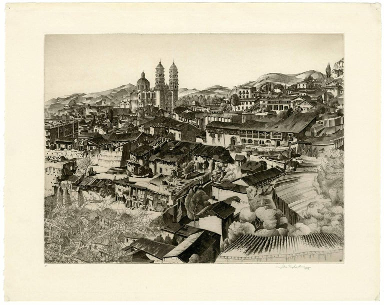 Light and Shade, Taxco (Mexican Series #2) - Beige Landscape Print by John Taylor Arms