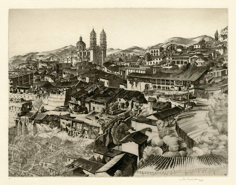 John Taylor Arms Landscape Print - Light and Shade, Taxco (Mexican Series #2)