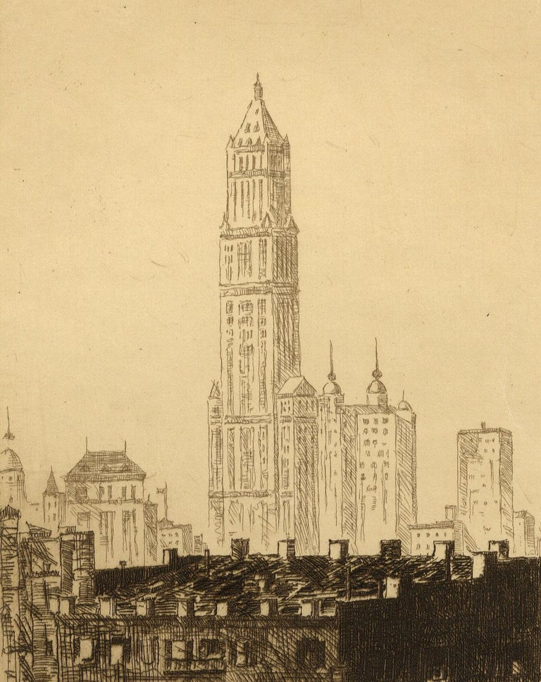 Out of My Window (Arms' studio view of the NYC skyline with Woolworth bldg.) - Print by John Taylor Arms