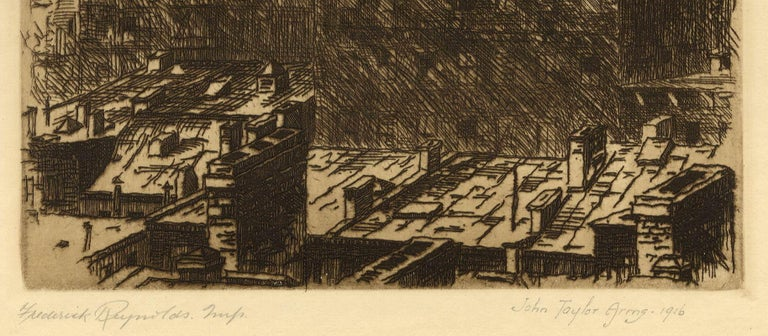 Out of My Window (Arms' studio view of the NYC skyline with Woolworth bldg.) - American Modern Print by John Taylor Arms