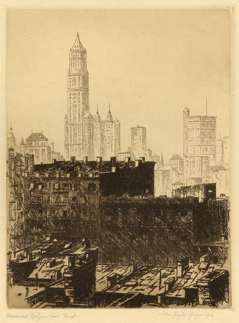 Out of My Window (Arms' studio view of the NYC skyline with Woolworth bldg.) - Beige Landscape Print by John Taylor Arms