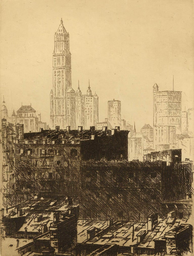 John Taylor Arms Landscape Print - Out of My Window (Arms' studio view of the NYC skyline with Woolworth bldg.)