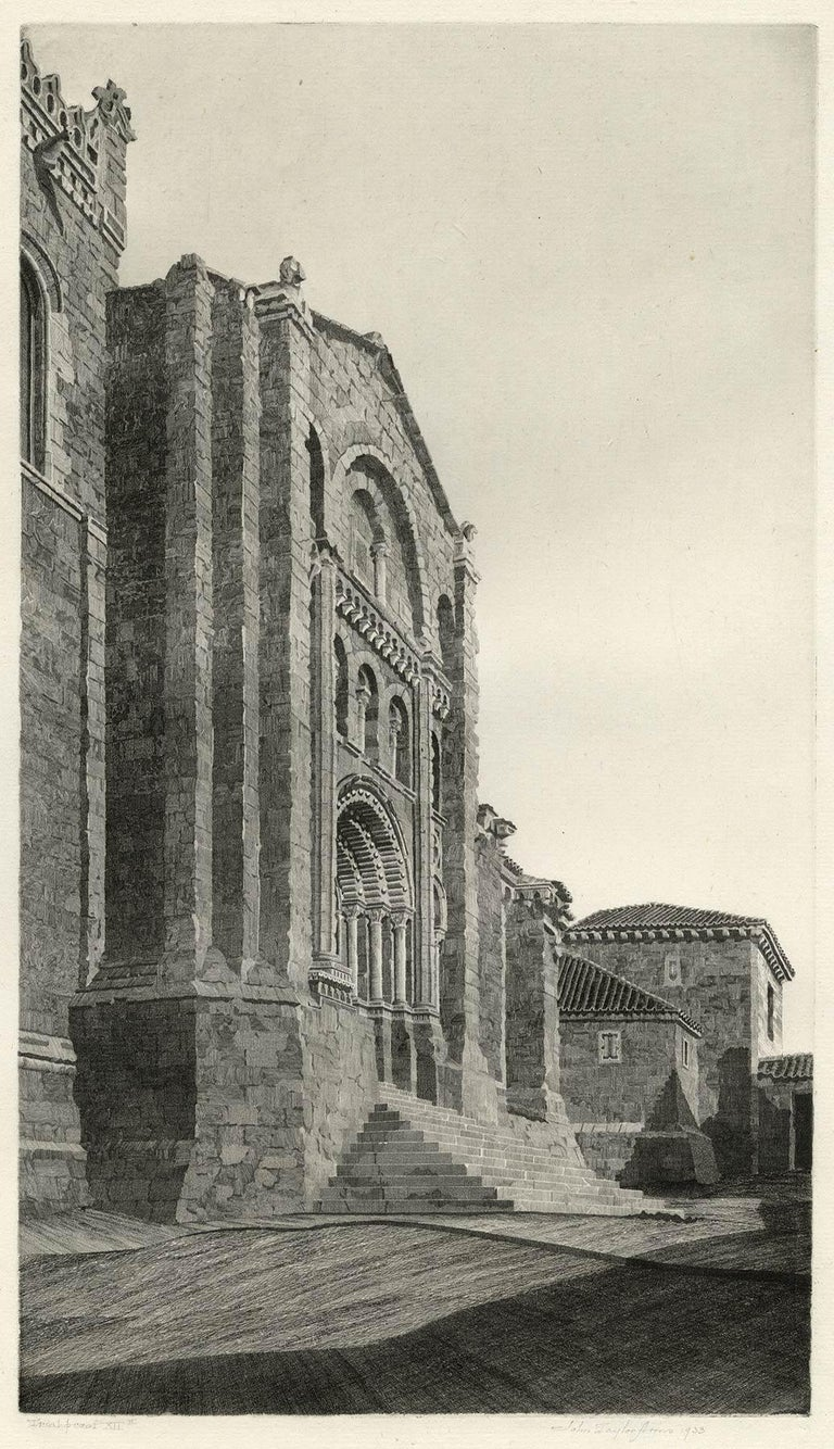 Puerta del Obispo ( Romanesque Spanish Cathedral) - Gray Print by John Taylor Arms